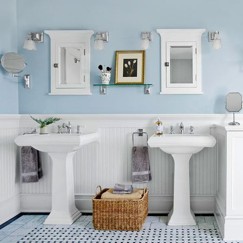 Beautiful Bathroom Paint Job In Glacier Blue And White